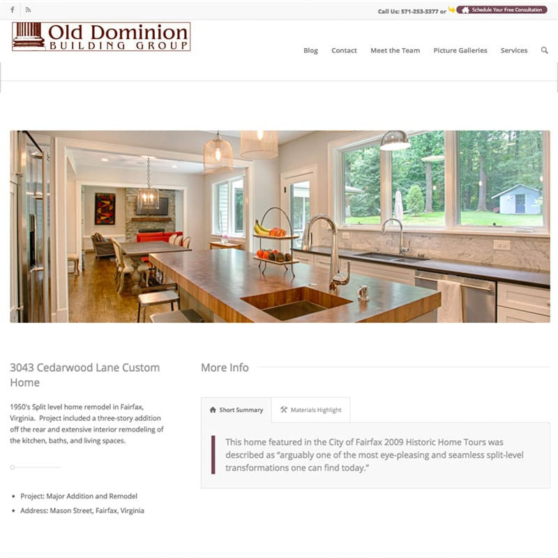 Old Dominion Kitchen Renovators Website