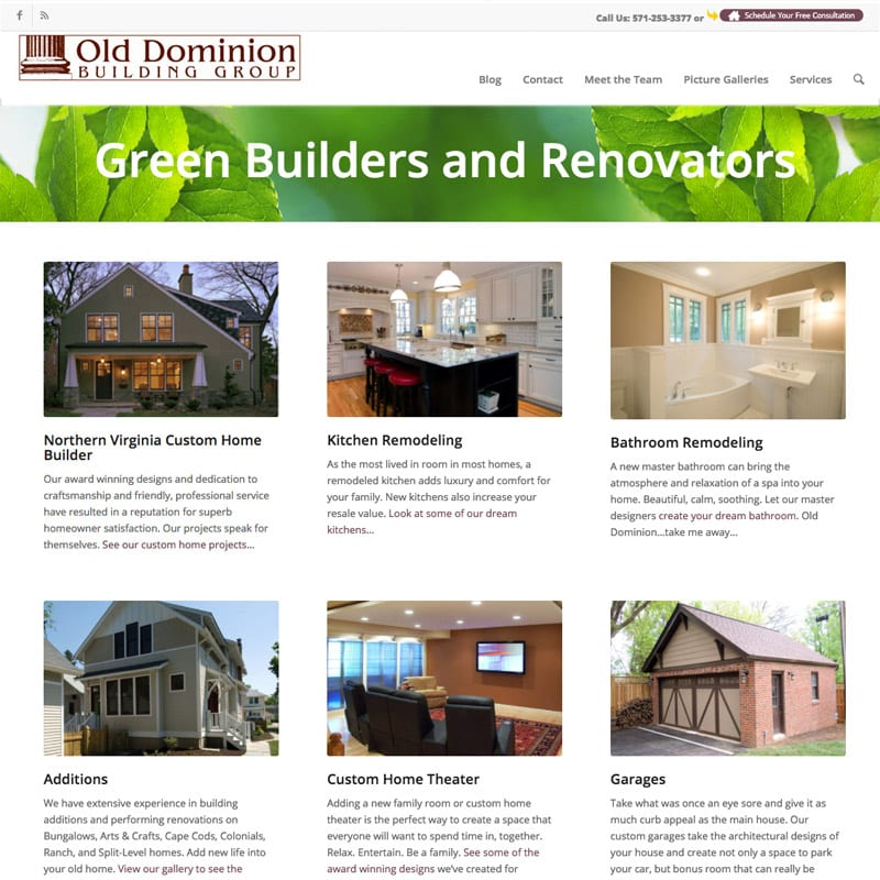 Old Dominion Custom Builders Website