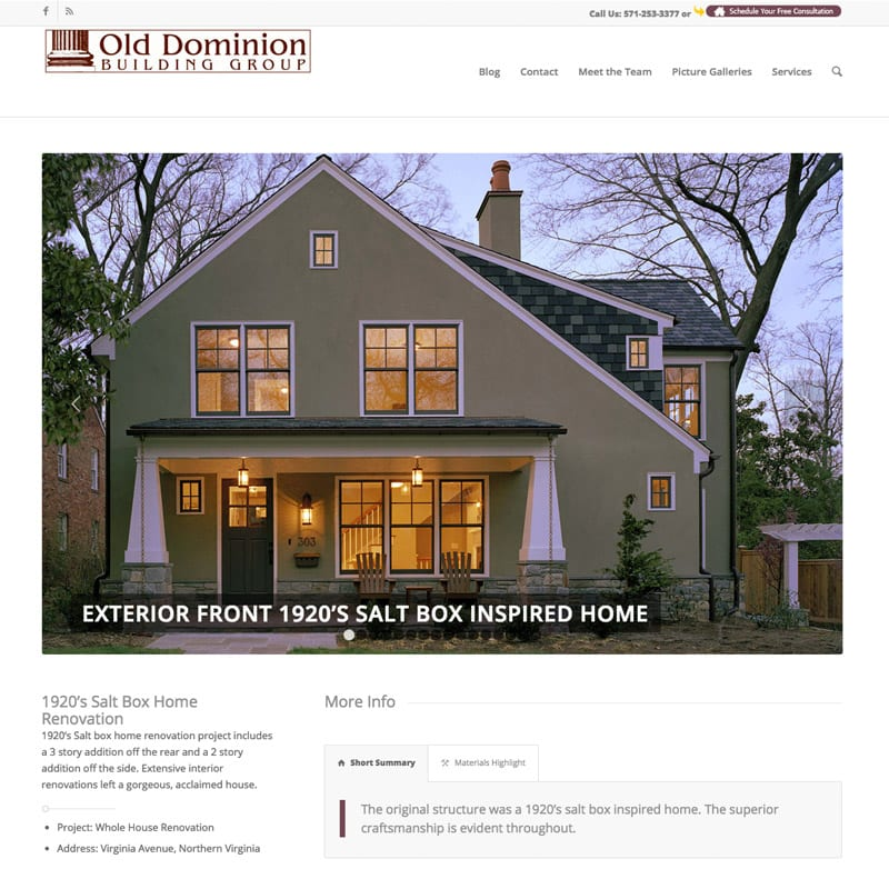 Old Dominion Custom Home Builder Website