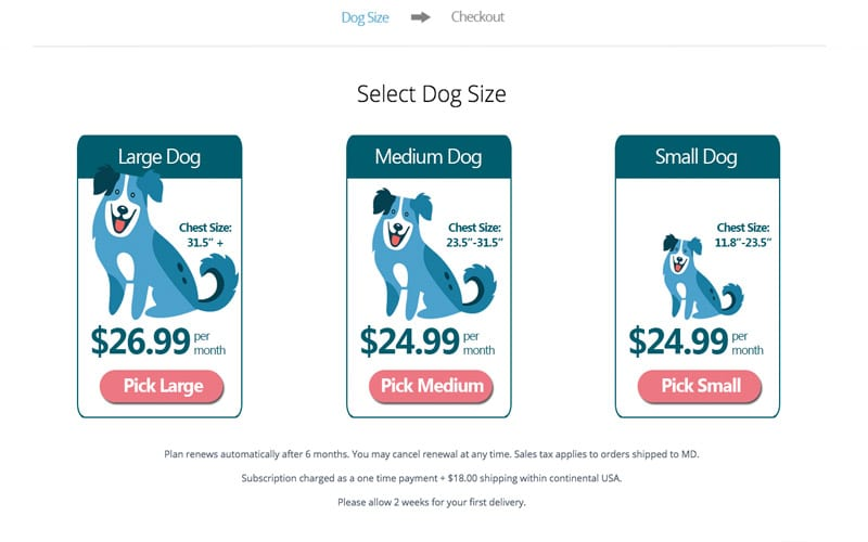 Subscription Sizing Page